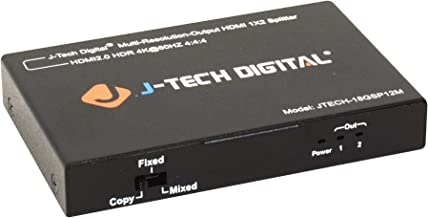 J-Tech Digital Scaler/Multi-Resolution Output (MRO) 18GBps 1x2 HDMI 2.0 Splitter HDR10/Dolby Vision 4K@60Hz 4:4:4 [JTECH-18GSP12M]