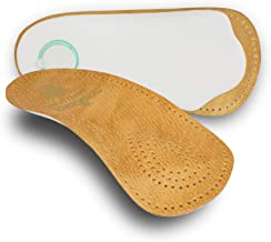 pedag HOLIDAY Orthotic Inserts | 3/4 Length, Thin Leather, Ultra Light, Semi-Rigid Shoe Insoles with Metatarsal Pad and Heel Cushion, Tan, US W11/M8