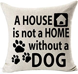 Best Dog Lover Gifts Nordic Warm Sweet Funny Sayings A House Is Not A Home Without A DOG Bone Paw Prints Cotton Linen Thro...