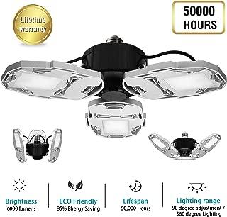 LED Garage Lights,50000H Life Time,60W 6000LM LED Garage Lighting,6500K Daylight E26/E27 CRI 80 Adjustable LED Ceiling Lights for Garage,Warehouse,Basement,Workshop(No Motion Detection)