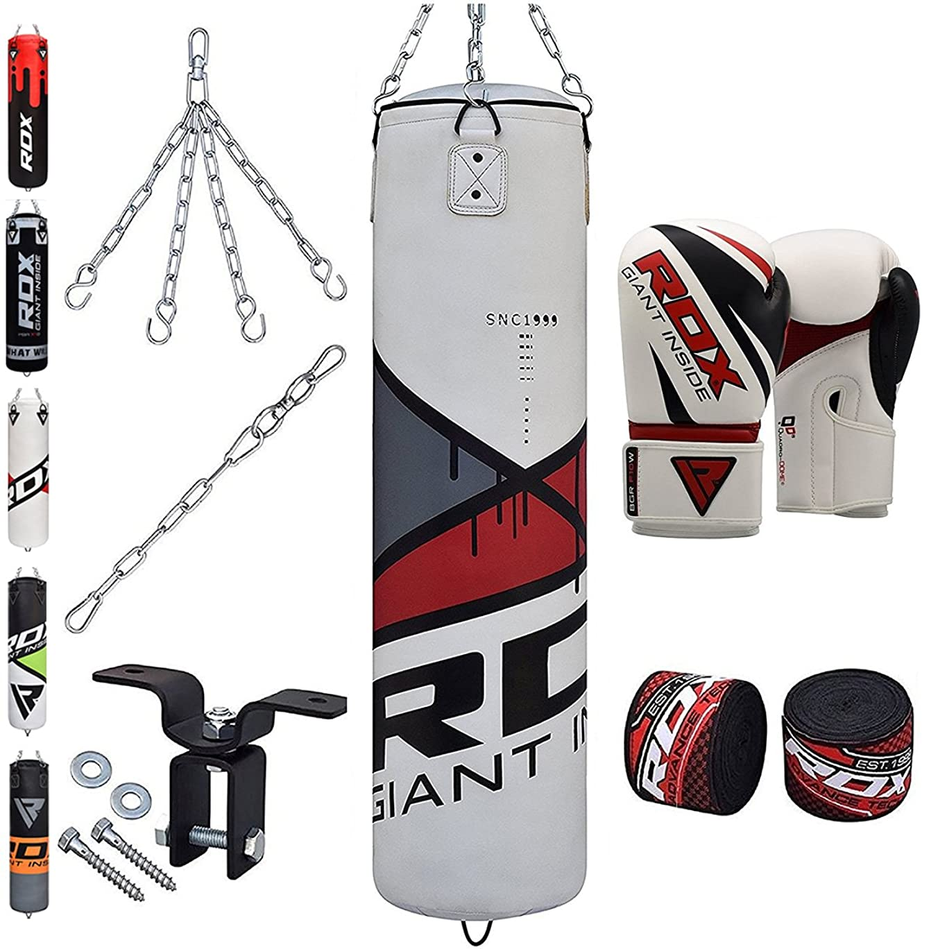 RDX Punching Bag Heavy Boxing 4FT 5FT Filled MMA Training Gloves Kickboxing Ceiling Hook 8PC Punching Bags