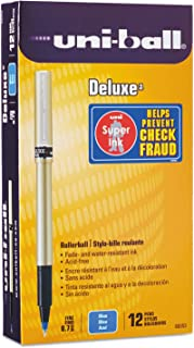 uni-ball 60053 Deluxe Roller Ball Stick Waterproof Pen Blue Ink Fine Dozen