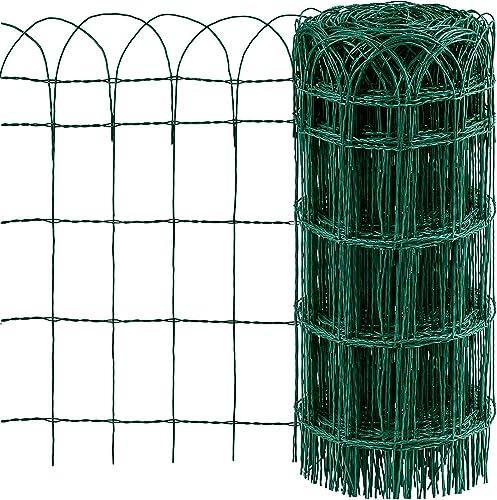 Amagabeli 0.65M x 25M Clôture de Jardin Bordure de Jardin Décorative Pliable Clôture Rouleau en métal RAL6005 Metalli...