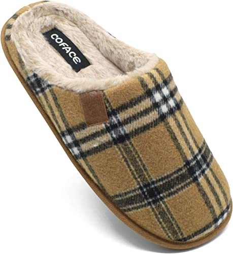 COFACE Mens Brown Flano Plaid Cozy Memory Foam scuff Slippers Slip On Warm House Shoes Indoor/Outdoor With Best Arch Surpport Size 8.5