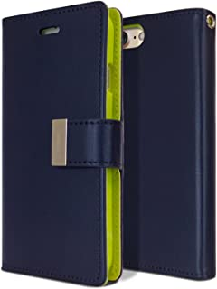 Goospery Rich Wallet for Apple iPhone 8 Case (2017) iPhone 7 Case (2016) Extra Card Slots Leather Flip Cover (Navy) IP7-RIC-NVY