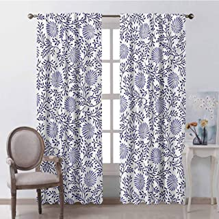 GUUVOR Floral Wear-Resistant Color Curtain Japanese Traditional Bluebells with Curved Flourishing Spring Branches Waterproof Fabric W72 x L72 Inch Dark Blue Muave White
