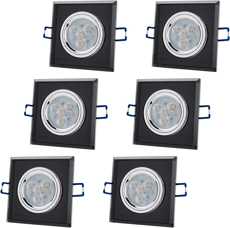 6er Set CRISTAL schwarz Q 230V LED SMD 4.5W Warmwei DIMMBAR (250lm) Decken Einbaustrahler Einbauspots Deckenspots (Schwarz-Spiegel) inkl. GU10 Fassung mit 15cm Anschlusskabel [Einbautiefe  70mm]