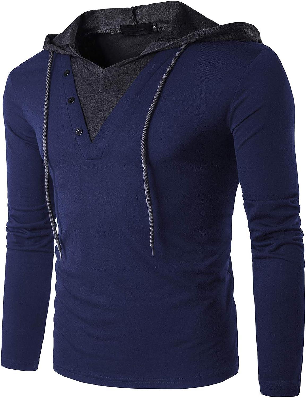 Tyhengta Mens Lightweight Hoodies Casual Slim Fit Hooded Long Sleeve Shirts