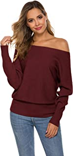 Romanstii Women's Off Shoulder Sweater Sexy Long Sleeve Loose Pullover Knit Jumper Baggy Solid Sweater