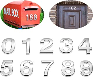 20 Pieces 2 Inch Mailbox Numbers 0-9 Address Numbers Self Adhesive Door Numbers Silver Reflective Mailbox Numbers for House Mailbox