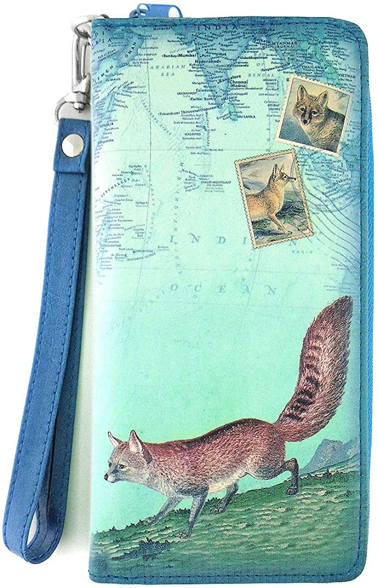 LAVISHY Vintage Look Animal Print Vegan/Faux Leather Wristlet Wallet