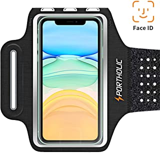 Sweat Resistant Cell Phone Armband Case for iPhone 11/11Pro Max/Xs Max/XR/X/8/7/6s Plus/PORTHOLIC Phone Running Holder Sports Workout Band for Samsung Galaxy S10/S9/S8 Plus Sizes,Huawei P30 [Stretchy]