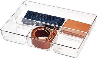 iDesign bac tiroir pour armoire ou coiffeuse, petit casier rangement plastique pour accessoires, séparateur tiroir à 4 com...