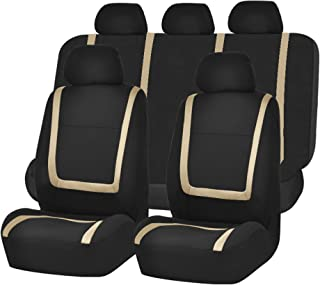 FH Group FH-FB032115 Unique Flat Cloth Seat Cover w. 5 Detachable Headrests and Solid Bench Beige/Black- Fit Most Car, Truck, SUV, or Van