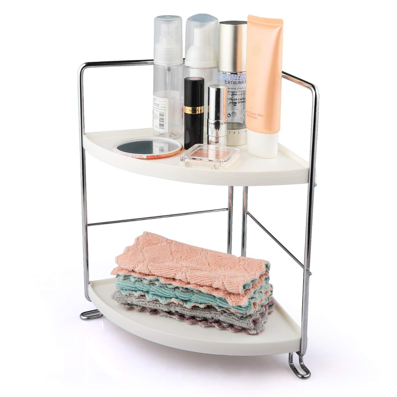 Amazon Com Veemos 2 Tier Corner Counter Shelf Bathroom Countertop Organizer Vanity Tray For Cosmetic Storage Standing Skincare Organizer Spice Rack Silver Kitchen Dining