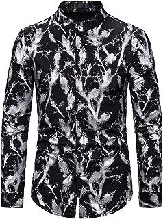 desolateness Mens Lapel Casuals Button Fashion Long Sleeve Pattern Printing Lapel Lapel Shirt Top