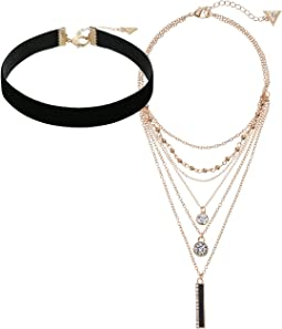 GUESS - Velvet Choker with Multi Layered Chain Necklaces