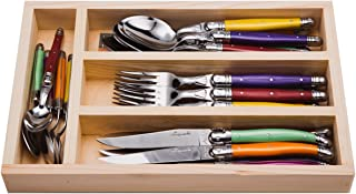 Jean Dubost JD07-13154.FRUITY 24 Piece Everyday Flatware Set With With Handles In a Tray, Multicolored