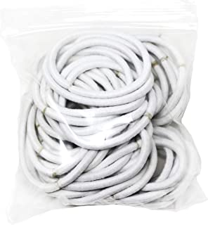 Elastic Bands Hair-Ties, White, Pack of 50, Great as Girls or Women's Ponytail Holder