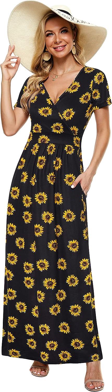 ZABERRY Women Short Sleeve Maxi Dress V Neck Summer Sexy Wrap Dress with Pockets