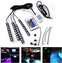 beler Car Interior Floor 9 LED Remote Control Decorative Atmosphere Colorful Neon Lights Strip Kit (Fulfilled by Amazon)