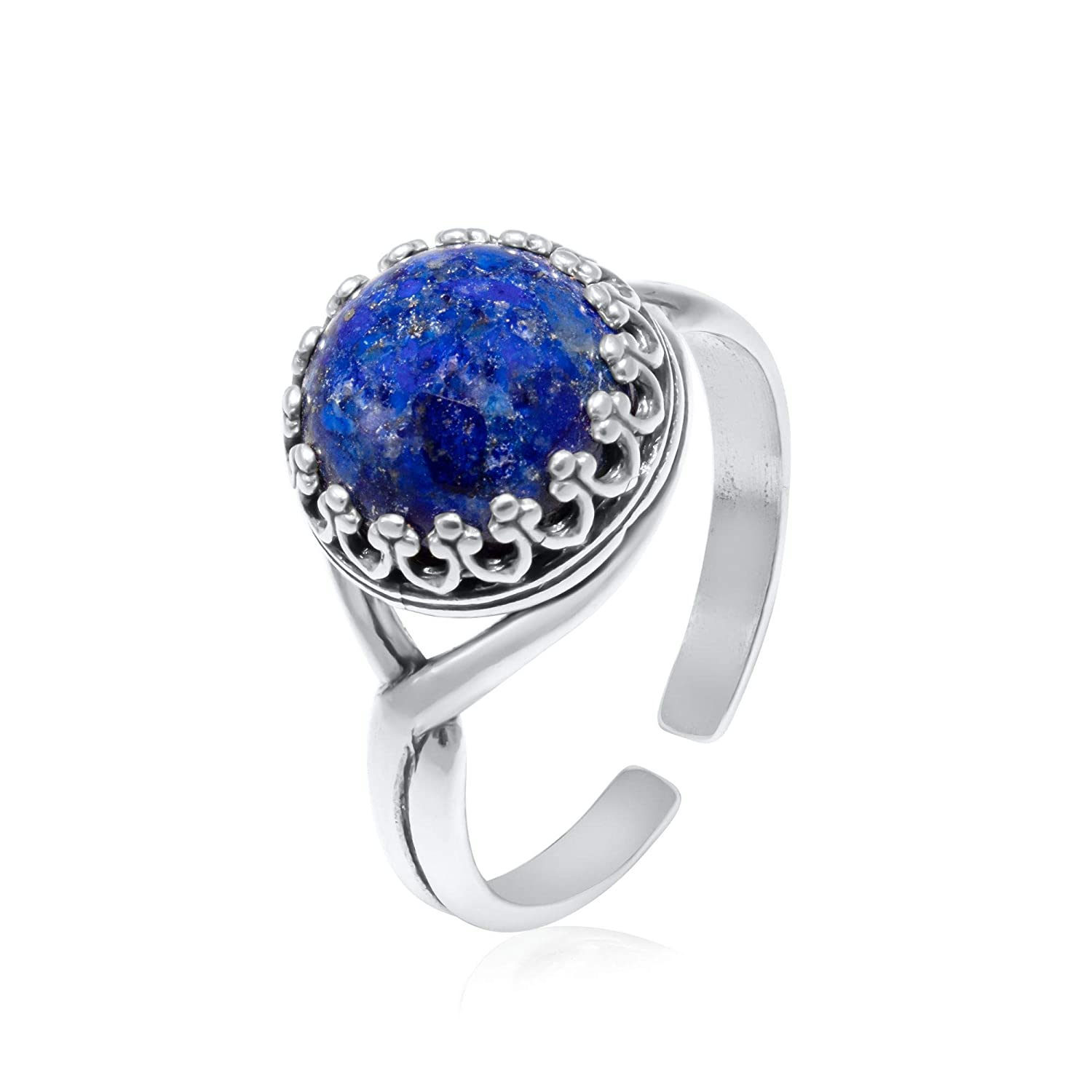Max 61% OFF 925 Sterling Silver Popular popular Natural Lapis Lazuli Vintage Style Ring Le -