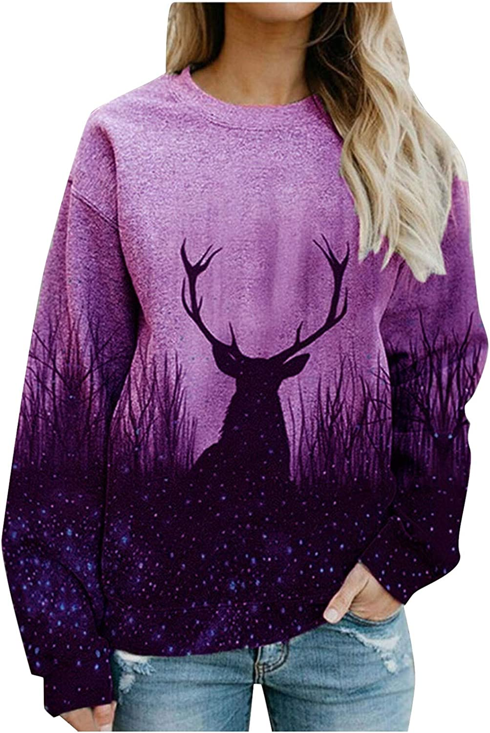 Christmas Pullover for Women Long Sleeve Tops Fashion Round Neck Blouse Animals Graphic Sweatshirt