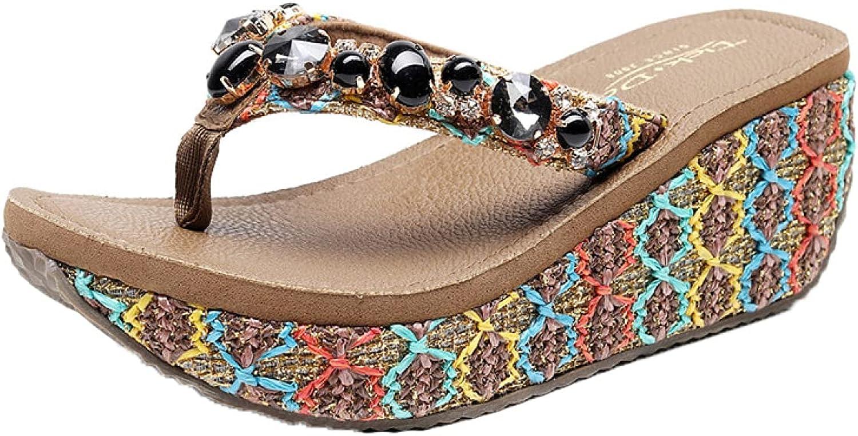 Women's Oakland Mall Memphis Mall Wedge Sandals Heeled Platform T Shoes Clip Beach Bohemia