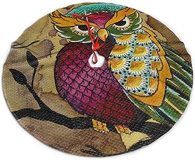 rouxf Grand tapis de sapin de Noël coloré avec motif hibou sur jupe de sapin de Noël - 91,4 cm