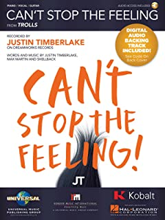 Justin Timberlake - Can't Stop The Feeling - Piano/Vocal/Guitar Sheet Music Single with Digital Audio Backing Track