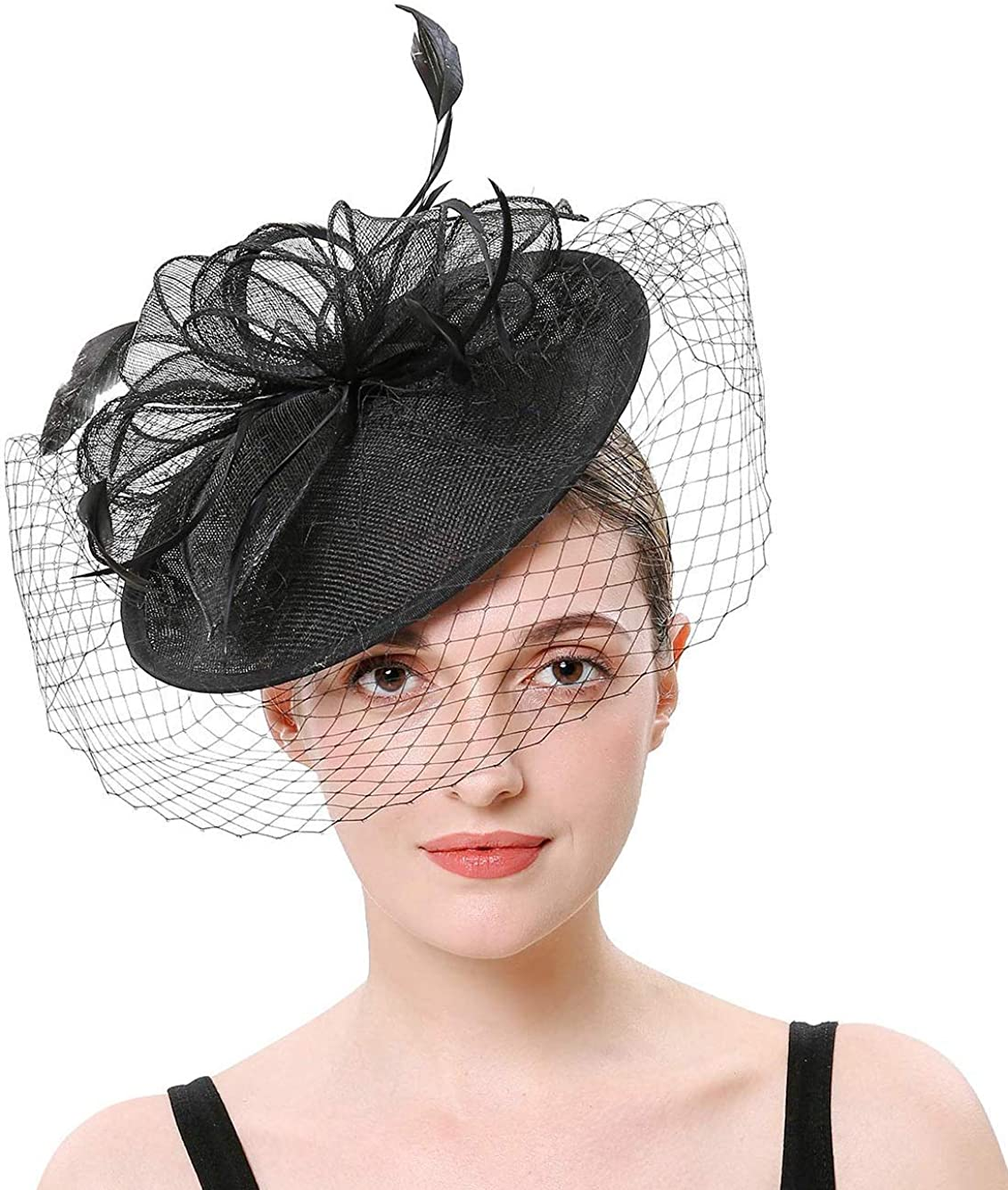 Hilary Ella Flax Net Face Veil Fascinator Safety and trust Cock Feather safety Women for