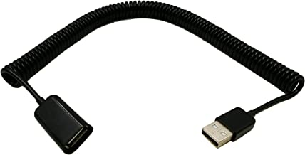 zdyCGTime 10FT/2.5M Spiral Coiled USB 2.0 Male to Female Data Sync & Charge Cable (Black)