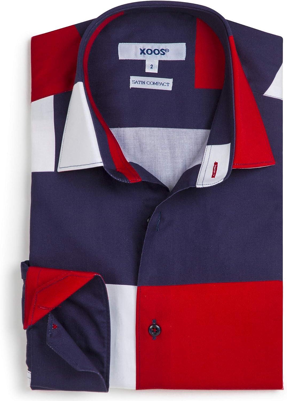 Xoos Paris - Camisa de manga larga para hombre, cuello francés - rojo/azul oscuro/blanco