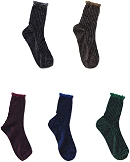 Flycheers Women's Hosiery Sparkly Shimmer Sock Ankle Socks Casual Ladies Bright Retro Sox Piles Sock 5 Pack