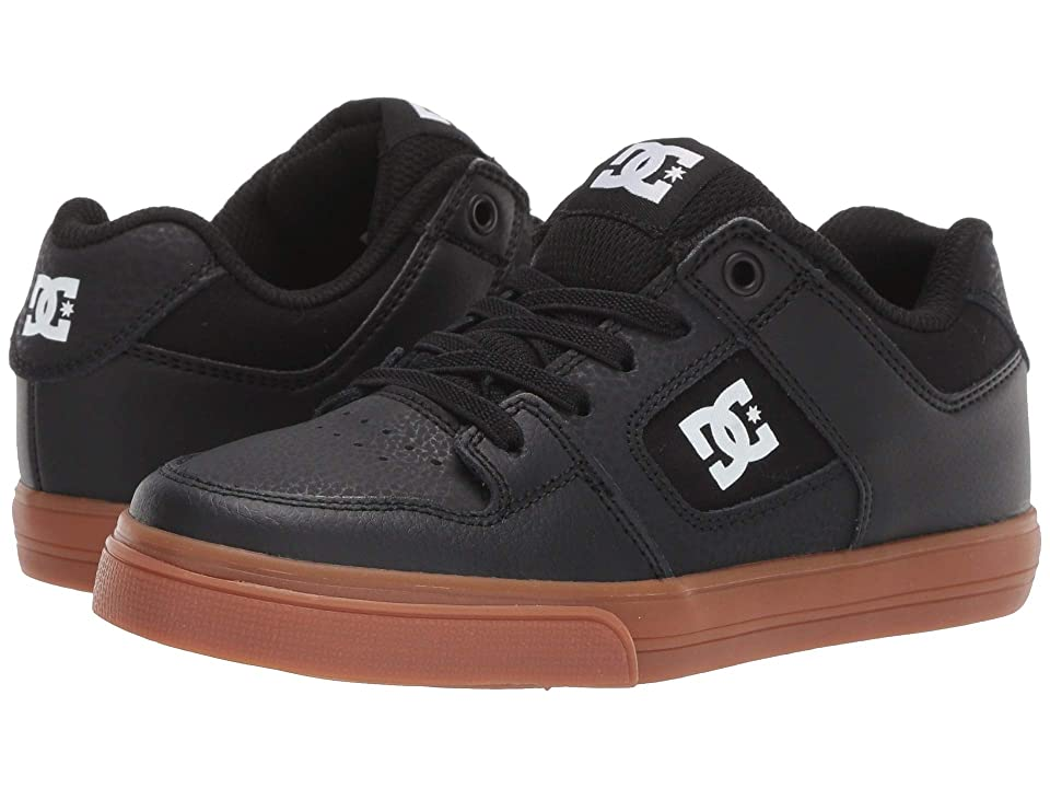 DC Kids Pure Elastic (Little Kid/Big Kid) (Black/White/Gum) Boys Shoes