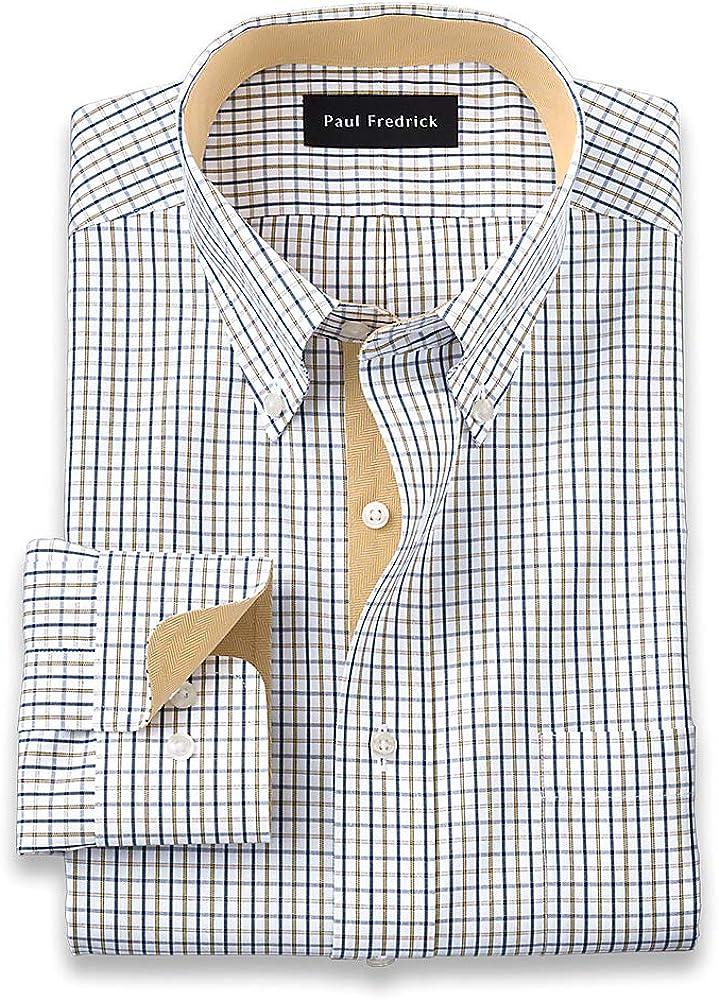 Paul Fredrick Men's Slim Fit Non-Iron Cotton Check Dress Shirt