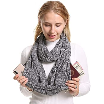 Infinity Scarf With 2 Zipper Pockets - Secret Hidden Travel Scarves for Girls Women Men