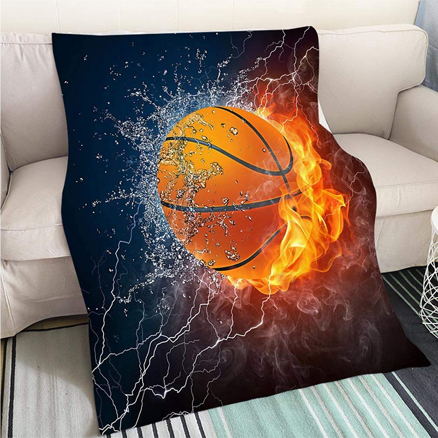 BEICICI Breathable Flannel Warm Weighted Blanket Illustration of a Basketball Half in Water Half in fire Sofa Bed or Bed 3D Printing Cool Quilt