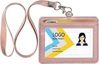 Leather ID Badge Holder, Horizontal PU Leather ID Badge Holder with 1 Clear ID Window/Credit Card Slot and a Durable Nylon Neck Lanyard (Rose Gold)
