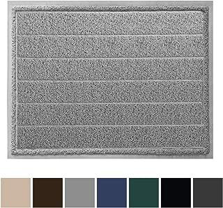 Gorilla Grip Original Durable Indoor Door Mat, 47x35, Large Size, Heavy Duty Doormats, Commercial Waterproof Stripe Doormat, Easy Clean, Low-Profile Mats for Entry, Garage, High Traffic Areas, Gray