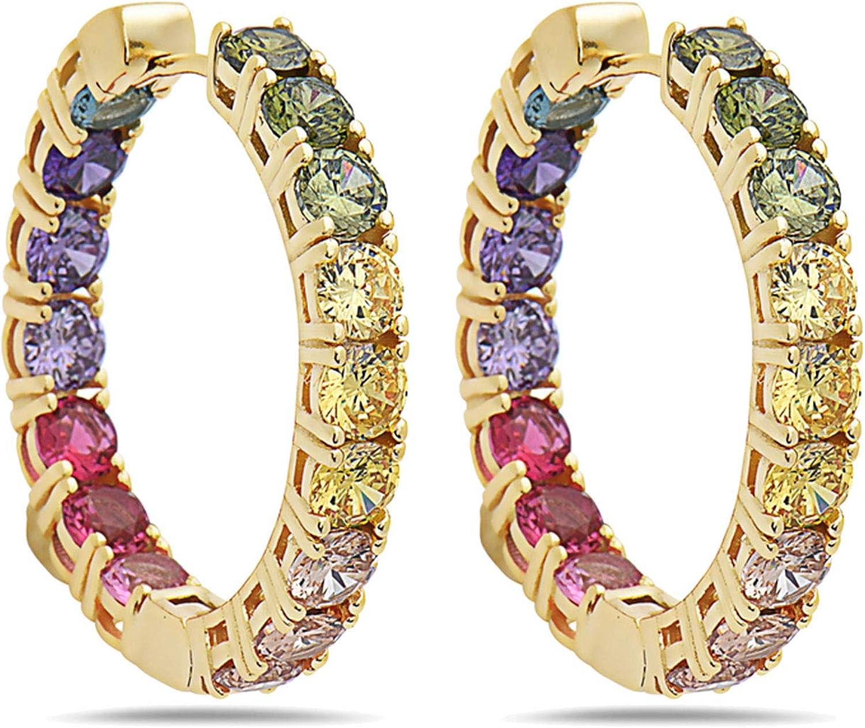 SEVEN50 925 Solid Sterling Silver Rainbow Sales results No. 1 depot Hoop Earrings Colorfu