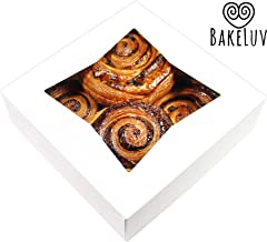 BakeLuv White Bakery Boxes with Window 8x8x2.5 inches | 50 Pack | Auto-Popup | Thick & Sturdy 350 GSM | Cookie Boxes with Window Bakery Boxes for Cookies, Cake Boxes, Donut Boxes, Pastry Boxes