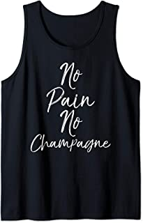 Funny Workout Gift for Women Cute No Pain No Champagne Débardeur