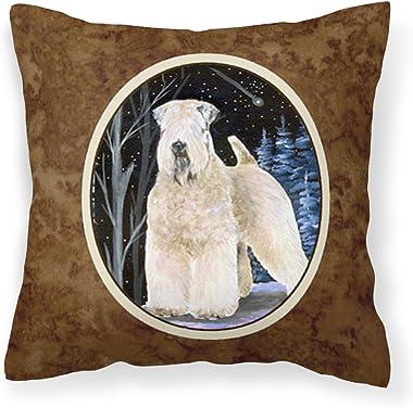Caroline's Treasures SS8364PW1414 Starry Night Wheaten Terrier Soft Coated Decorative Canvas Fabric Pillow, 14Hx14W, Mult