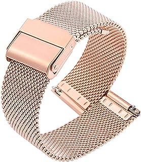 FJXJLKQS Bracelet de Montre Bracelet de Montre de Remplacement Réglable en Maille d'acier Inoxydable Respirant et Imperméa...