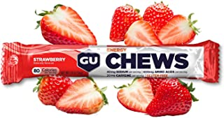 GU Energy Chews Double-Serving Sleeve, Strawberry, 18-Count