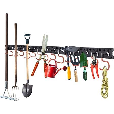 LESOLEIL Système de rangement Réglable - Supports muraux Organiseur Mural pour Outils Organiseur de garage d'outils de jardin Parfaits pour rangement de Garage avec 3 Rails 12 Crochets