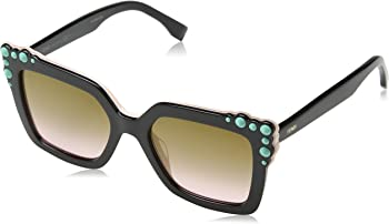 Fendi Brown Gradient Square Sunglasses with Turquoise Studs