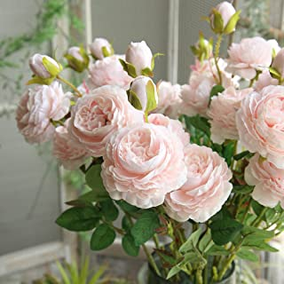 NszzJixo9 Artificial Fake Western Rose Flower Peony Bridal Bouquet Wedding Party Home Decor Artificial Flowers Well Made Vibrantly Colored Looks Realistic Beautiful (Pink)
