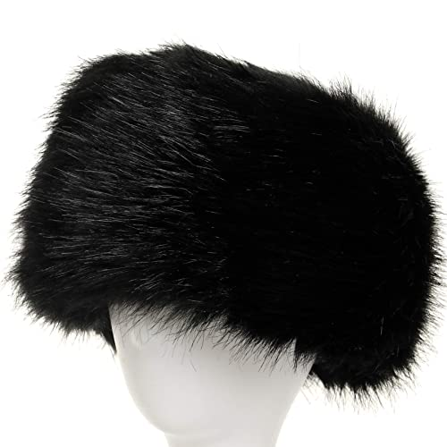 La Carrie Women s Faux Fur Hat for Winter with Stretch Cossack Russion  Style White Warm Cap 5e1ed302ea6